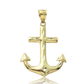 "10K Yellow Gold Anchor Charm Pendant (2.16"" x 1.35"")"
