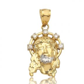 "10K Yellow Gold Two-Tone Jesus Head with CZ Halo Pendant Charm (1.20"" x 0.60"")"