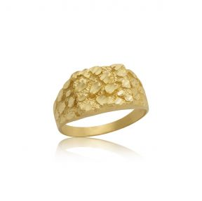 """10K Yellow Gold Round Square Nugget Ring (0.55"""" x 0.50"""")"""