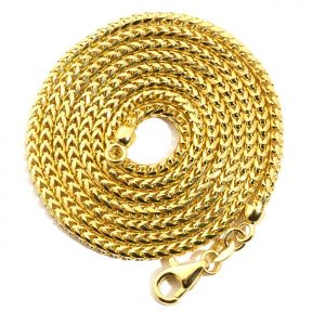 14K Yellow Gold 2.2 mm Solid Diamond Cut Franco Chain Necklace with Lobster Lock (Available from 18 - 26 inches)