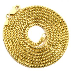 14K Yellow Gold 1.8 mm Solid Diamond Cut Franco Chain Necklace with Lobster Lock (Available from 18 - 26 inches)