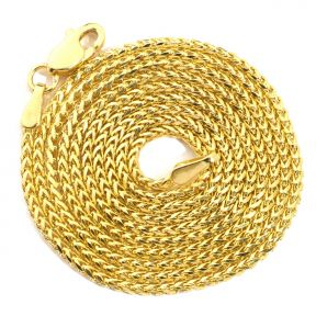 14K Yellow Gold 1.3 mm Solid Diamond Cut Franco Chain Necklace with Lobster Lock (Available from 16 - 24 inches)