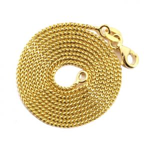 14K Yellow Gold 1.1 mm Solid Diamond Cut Franco Chain Necklace with Lobster Lock (Available from 16 - 24 inches)