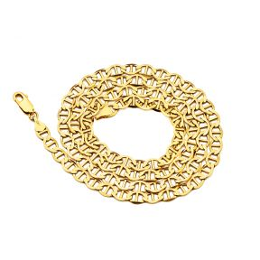 14K Yellow Gold 5mm Solid Mariner Chain Necklace with Lobster Lock, Available in 20 inches to 30 inches