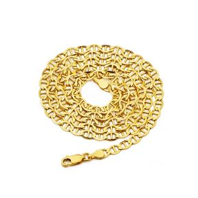 14K Yellow Gold 4mm Solid Mariner Chain Necklace with Lobster Lock, Available in 18 inches to 30 inches