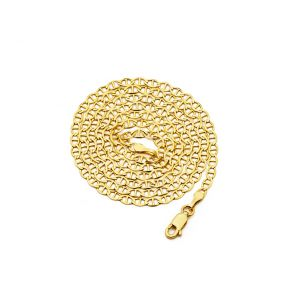 14K Yellow Gold 3mm Solid Mariner Chain Necklace with Lobster Lock, Available in 16 inches to 24 inches