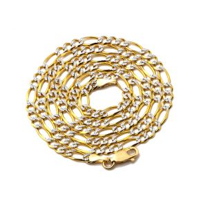 "14K Two Tone Gold 3.5mm Pave Figaro Hollow Chain Necklace with Lobster Lock (16"" 18"" 20"" 22"" 24"")"