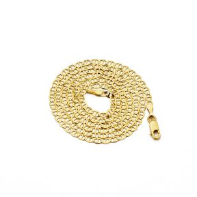 14K Yellow Gold 2.5mm Solid Mariner Chain Necklace with Lobster Lock (16 to 24 inch)