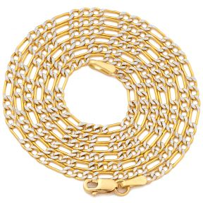 "14K Two Tone Gold 2mm Pave Figaro Hollow Chain Necklace with Lobster Lock (16"" 18"" 20"" 22"" 24"")"