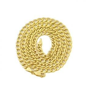 14k Yellow Gold 3mm Hollow Curb Cuban Chain Necklace With Lobster Lock
