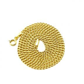 """14k Yellow Gold 2mm Hollow Curb Cuban Chain Necklace With Spring Lock (Available in Lengths 16"""" - 24"""")"""