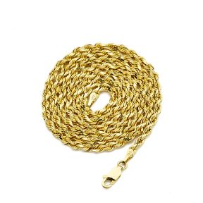 """14K Yellow Gold 3mm Diamond Cut Rope Chain Necklace, Mens Womens with Lobster Lock 18"""" 20"""" 22"""" 24"""" 26"""""""