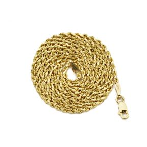 """14K Yellow Gold 1.8mm Diamond Cut Rope Chain Necklace Mens Womens w/ Lobster Lock 16"""" 18"""" 20"""" 22"""" 24"""" 26"""""""