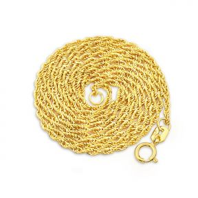 14k Yellow Gold 1mm Hollow Rope 025 Gauge Chain Necklace (Available in 16-24 inches)