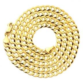 """14K Yellow Gold 5.5mm Plain Solid Curb Cuban Necklace W/ Lobster Lock ( 18"""" to 30"""")"""
