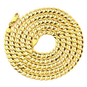 """14K Yellow Gold 4.5mm Plain Solid Curb Cuban Necklace W/ Lobster Lock (18"""" to 30"""")"""