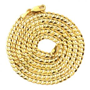 "14K Yellow Gold 3.5mm Plain Solid Curb Cuban Necklace W/ Lobster Lock ( 18"" to 30"")"
