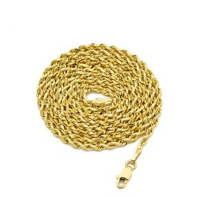 14K Yellow Gold 2.5mm Solid Diamond Cut Rope Chain Necklace with Lobster Lock