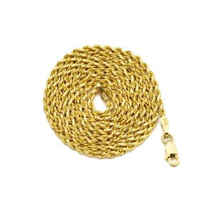 14K Yellow Gold 2mm Solid Diamond Cut Rope Chain Necklace with Lobster Lock