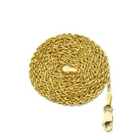 14K Yellow Gold 1.5mm Solid Diamond Cut Rope Chain Necklace with Lobster Lock