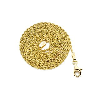 14K Yellow Gold 1mm Solid Diamond Cut Rope Chain Necklace with Lobster Lock