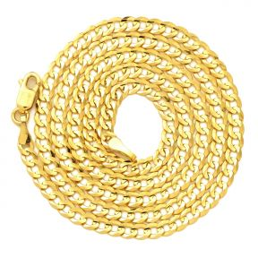"""14K Yellow Gold 3mm Plain Solid Curb Cuban Necklace W/ Lobster Lock (18"""" to 30"""")"""