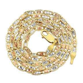 """14K Tricolor Gold 2.3mm Solid Diamond Cut Valentino Chain Necklace with Lobster Lock (18"""" to 24"""")"""