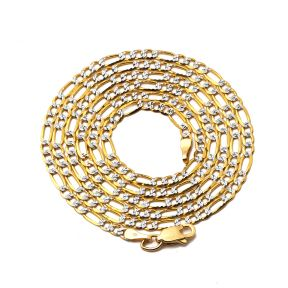 "14K Two Tone Gold 2.5mm Pave Figaro Hollow Chain Necklace with Lobster Lock (16"" 18"" 20"" 22"" 24"")"
