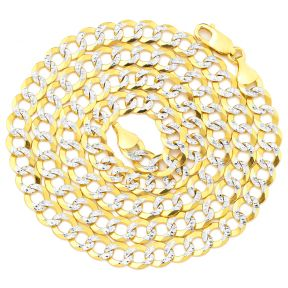"14k Yellow Gold 7mm Solid Pave Curb Cuban Chain Necklace with White Gold Pave Diamond Cut W/ Lobster Lock (18"" to 30"")"