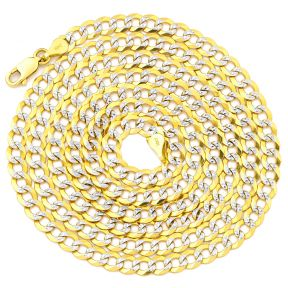 "14K Yellow Gold 4.5mm Solid Pave Two-Tone Curb Chain Necklace with White Gold Pave Diamond Cut, with Lobster Lock (18"" to 26"")"