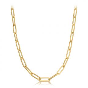 14k yellow gold paperclip paper clip link necklace