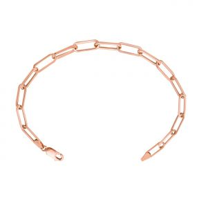 14k Rose Gold 4mm Paper Clip Link Bracelet