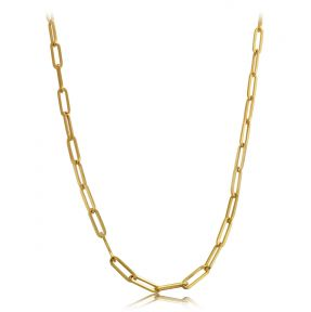 14k Yellow Gold 4mm Paper Clip Link Necklace