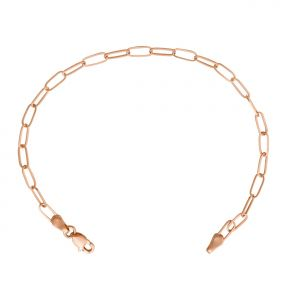 14k Rose Gold 3mm Paper Clip Link Bracelet