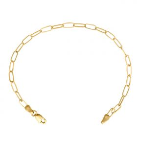 14k Yellow Gold 3mm Paper Clip Link Bracelet