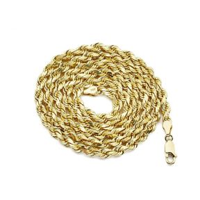 14K Yellow Gold 5mm Hollow Rope Diamond Cut Chain Necklace