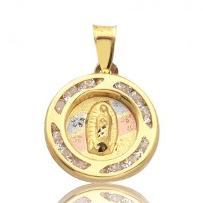 "14K Yellow Gold Tri-Tone Virgin Mary of Gualalupe Rounded Charm With 20 CZ Stones (0.76"" x 0.58"")"