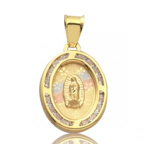 "14K Yellow Gold Tri-Tone Oval- shaped Virgin Mary of Gualalupe Charm With 14 CZ Stones (0.85"" x 0.45"")"