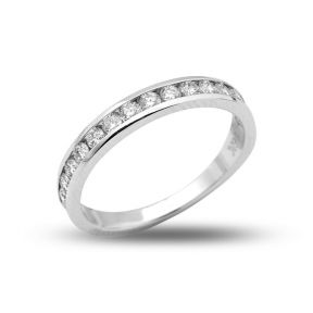 0.55 Carats (ctw) 14K White Gold 16-Stone Diamond Wedding Anniversary Band Ring, Channel Machine Setting