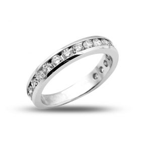 1.00 Carats (ctw) 14K White Gold 18-Stone Diamond Wedding Anniversary Band Ring, Channel Machine Setting