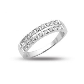 0.55 Carats (ctw) 14K White Gold 18-Stone 2-Row Diamond Wedding Anniversary Band Ring, Machine Setting