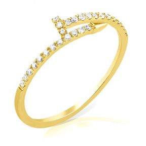 Diamond 0.20 Carat (ctw) Nail Ring in 14K Yellow Gold Ring (sizes 5-9)