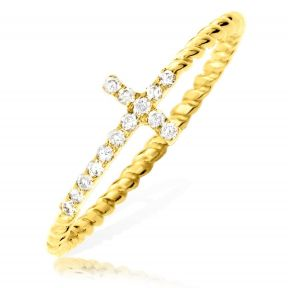 0.15 Carat (ctw) Diamond Designer Diamond Sideways Cross Ring with Rope band in 14 Karat (K) Yellow Gold Ring (sizes 5-9)