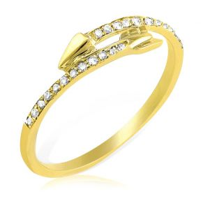 Diamond 0.15 Carat (ctw) Arrow Ring in 14K Yellow Gold  (sizes 5-9)