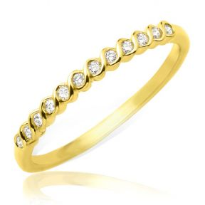 Designer Diamond 0.15 Carat (ctw) Stackable Band  Ring in 14k Yellow Gold (size 5-9)