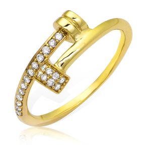Designer Diamond 0.15 Carat (ctw) Double Hammer Style Ring Band in 14K Yellow Gold (sizes 5-9)