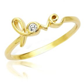 "Designer Diamond ""love"" Ring in 14 Karat 0.05 Carat (ctw) Yellow Gold Ring (sizes 5-9 )"