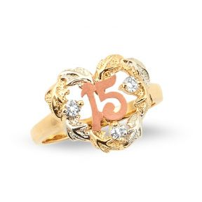 14k Tri-Color Gold 15 Anos Leaf Heart with 3 CZ Stones Quinceanera Ring (Sizes 5-9)