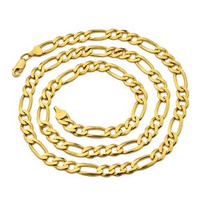 10K Yellow Gold Solid Figaro Chain Necklace (2mm to 6.5mm)