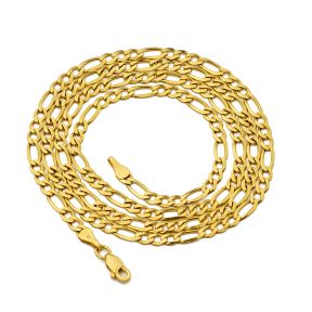 14K Yellow Gold Solid Figaro Chain Necklace (2mm / 2.5mm)